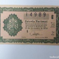 Loterie Nationale: DECIMO DE LOTERIA NACIONAL DEL AÑO 1958, SORTEO 35. Lote 286940123