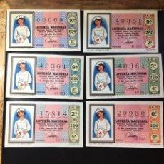 Lotería Nacional: ENVÍO GRATIS LOTE 6 DECIMOS LOTERIA 1969 CRUZ ROJA (TODAS LAS SERIES). Lote 288091813