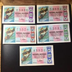 Lotería Nacional: ENVÍO GRATIS LOTE 5 DECIMOS LOTERIA 1968 CRUZ ROJA (TODAS LAS SERIES). Lote 288091923