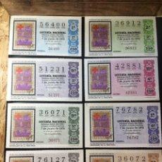 Lotería Nacional: ENVÍO GRATIS LOTE 8 DECIMOS LOTERIA 1975 CRUZ ROJA (TODAS LAS SERIES). Lote 288093288