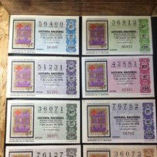 Lotería Nacional: ENVÍO GRATIS LOTE 8 DECIMOS LOTERIA 1975 CRUZ ROJA (TODAS LAS SERIES). Lote 288397373