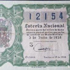 Lotería Nacional: 1958 SORTEO19. Lote 288405258