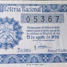 Lotería Nacional: 1958 SORTEO 24. Lote 288405363