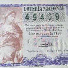 Lotería Nacional: 1958 SORTEO 28. Lote 288405543