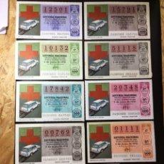 Lotería Nacional: ENVÍO GRATIS LOTE 9 DECIMOS LOTERIA 1979 CRUZ ROJA (TODAS LAS SERIES). Lote 288928918