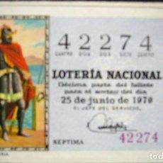 Lotería Nacional: DÉCIMO DE 1970 - NÚMERO 42274. Lote 288937348