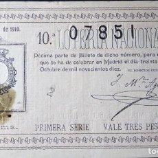 Lotería Nacional: 1910. SORTEO 29. Lote 289691633