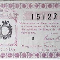 Lotería Nacional: 1924 SORTEO 9. Lote 289692233