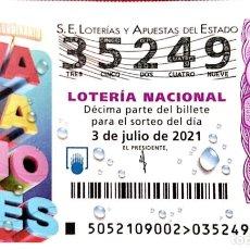 Lotería Nacional: ESPAÑA. LOTERÍA. 2021. SORTEO: 52 SORTEO EXTRAORDINARIO VACACIONES. FECHA: 3 JULIO.. Lote 289837173