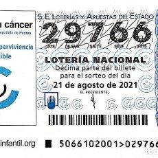 Lotería Nacional: ESPAÑA. LOTERÍA. 2021. SORTEO: 66 NIÑOS CON CÁNCER. FEDERACIÓN ESPAÑOLA DE PADRES. FECHA: 21 AGOSTO. Lote 289837208