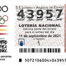 Lotería Nacional: ESPAÑA. LOTERÍA. 2021. SORTEO: 72 ADO EQUIPO OLÍMPICO ESPAÑOL. FECHA: 11 SEPTIEMBRE. Lote 289837268