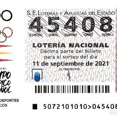 Lotería Nacional: ESPAÑA. LOTERÍA. 2021. SORTEO: 72 ADO EQUIPO OLÍMPICO ESPAÑOL. FECHA: 11 SEPTIEMBRE. Lote 289837293