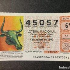 Lotería Nacional: L .NACIONAL 7 AGOSTO 1993. SORTEO 64/93. CABEZA DE TORO DE COSTIX. MALLORCA. Nº. 45057.. Lote 290014303