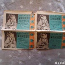 Lotería Nacional: 4 DECIMOS LOTERIA DE 1960. Lote 291178923