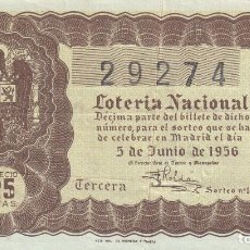 Lotería Nacional: LOTERIA NACIONAL SORTEO 16 DE 1956. Lote 291421253