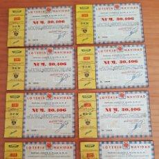 Lotería Nacional: OCHO PARTICIPACIONES LOTERÍA DE NAVIDAD AÑO 1959 - PERFECTO ESTADO. Lote 291946623