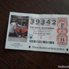 Lotería Nacional: DÉCIMO LOTERÍA NACIONAL DE DIA 05-06-21, CRUZ ROJA, PROTEGER, ACOMPAÑAR, AYUDAR. SORTEO 44/21. Lote 293510723