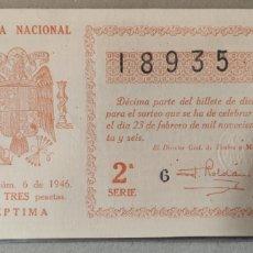 Lotería Nacional: LOTERÍA NACIONAL 1946 SORTEO 6. Lote 294064138