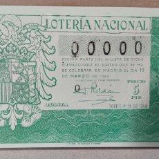 Lotería Nacional: LOTERÍA NACIONAL 1946 SORTEO 8 00000. Lote 294064908