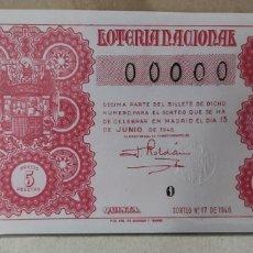 Lotería Nacional: LOTERÍA NACIONAL 1946 SORTEO 17 00000. Lote 294069483