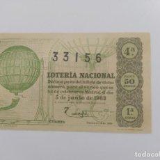 Lotería Nacional: DECIMO DE LOTERIA DEL AÑO 1963, SORTEO 16. Lote 295288863