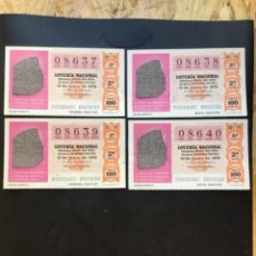 Lotería Nacional: LOTE 4 DECIMOS LOTERÍA AÑO 1976 SORTEO 22/76 NÚMEROS CORRELATIVOS. Lote 295465088