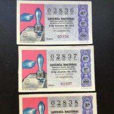 Lotería Nacional: LOTE 3 DECIMOS LOTERÍA AÑO 1975 SORTEO 10/75 NÚMEROS CORRELATIVOS. Lote 295465143