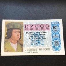 Lotería Nacional: DECIMO LOTERÍA AÑO 1983 SORTEO 26/83 NÚMERO EXACTO 07000. Lote 295466083