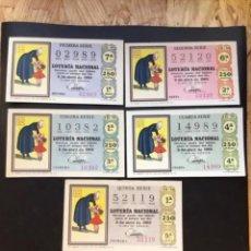 Lotería Nacional: LOTE 5 DECIMOS LOTERÍA AÑO 1969 SORTEO 10/69 (TODAS LAS SERIES). Lote 295466228