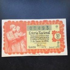 Lotería Nacional: DECIMO LOTERÍA AÑO 1956 SORTEO 1/56 - FORMATO GRANDE. Lote 295466413