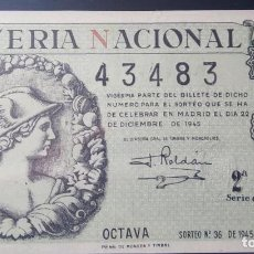 Lotería Nacional: 1945 SORTEO 36. Lote 295482918