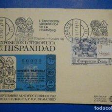 Lotería Nacional: MATASELLOS 1ª EXPOSICIÓN LOTEROFILIA DE LA HISPANIDAD - ASOCIACIÓN LOTEROFILIA HISPANIA - 1982. Lote 145667526