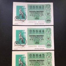 Lotería Nacional: LOTE 3 DECIMOS LOTERÍA AÑO 1979 SORTEO 23/79 NÚMEROS CORRELATIVOS. Lote 297388158