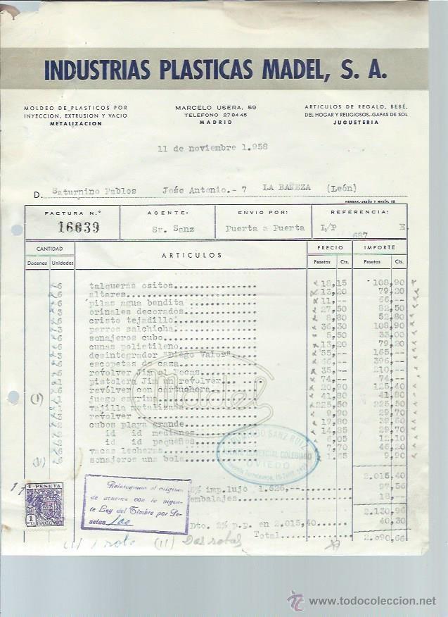 MADELMAN,FACTURA DE 1959,RARÍSIMA,MADRID,BUEN DOCUMENTO,MADEL,LA BAÑEZA,EXCEPCIONAL (Juguetes - Figuras de Acción - Madelman)