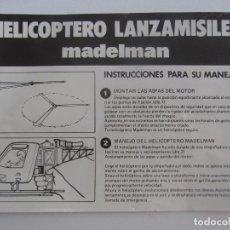 Madelman: MADELMAN ORIGINAL - INSTRUCCIONES ORIGINALES DEL HELICOPTERO LANZAMISILES MADELMAN - BUEN ESTADO DE . Lote 98058063