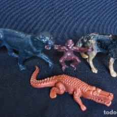 Madelman: 3 ANIMALES MADELMAN ORIGINALES + COCODRILO. Lote 100034495