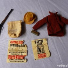 Madelman: MADELMAN ROPA Y ACCESORIOS SHERIFF CARTELES WANTED ORO ORIGINAL AÑOS 70. Lote 143844576