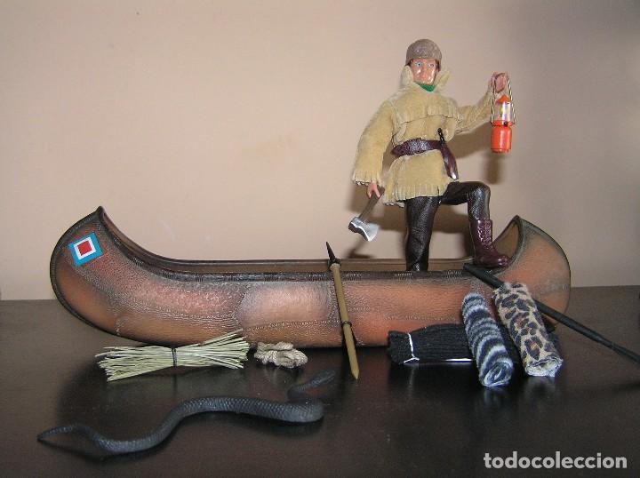 Madelman: Madelman MDE. Serie Oeste Far West. Lote explorador, cazador con canoa, serpiente y equipación - Foto 2 - 130317546