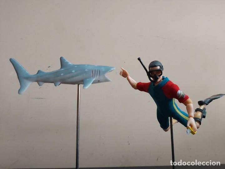 Madelman: Madelman MDE hombre-rana submarinista. Mundo submarino. Armada, Marina, con tiburon de regalo - Foto 2 - 246062285