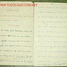 Manuscritos antiguos: XENIES EN EL CENTENARI DE FREDERIC SOLER (SERAFÍ PITARRA)FUNDADOR DEL TEATRE CATALÀ / PERE COROMINAS. Lote 26515795