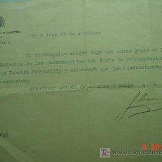 Manuscritos antiguos: 5045 AUTOGRAFO FIRMA CONDE DE GAMAZO EN CARTA DIRIGIDA A JOSE Mª DE ALBIÑANA DIPUTADOS 1936 C&C. Lote 25491087