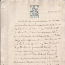 Manuscritos antiguos: CHIRIVELLA VALENCIA 1912 ALFONSO XIII. DOCUMENTO MANUSCRITO SELLADO FISCAL 12º 50 CTS ADMON JUSTICIA. Lote 27198406
