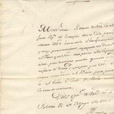 Manuscritos antiguos: 1778 REMISIÓN ESCRITO CORREGIDOR AL CONDE DE RICLA. Lote 27449007