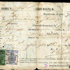 Manuscritos antiguos: CUBA,MATANZAS -LICENCIA PARA REVOLVER- SELLO POLICIA. Lote 25733424