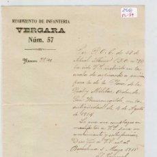 Manuscritos antiguos: (FL-37)DOCUMENTO REGIMIENTO DE INFANTERIA VERGARA Nº57. Lote 4937954