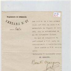 Manuscritos antiguos: (FL-9)DOCUMENTO REGIMIENTO DE INFANTERIA VERGARA Nº57. Lote 4938007