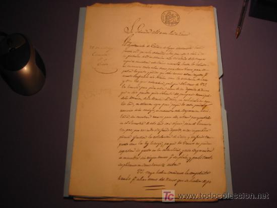 MANUSCRITO AÑO 1863 CON SELLO COLOR GRIS Y SELLO ISABEL II (Coleccionismo - Documentos - Manuscritos)