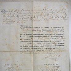 Manuscritos antiguos: CONCESION DE NOMBRAMIENTO POR SON CARLOS DE MOLLI - CAPITAN JEFE DEL 4º REGIMIENTO DE LANCEROS. Lote 12253193