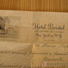 Manuscritos antiguos: CARTA ENTRE PARTICULARES- 10 ENERO 1948-CON EL MEMBRETE DEL HOTEL BRISTOL - NEW YORK.. Lote 25164191