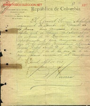 DOCUMENTOS ANTIGUOS. CARTA. MANUSCRITA. GENERAL LIBERAL COLOMBIANO, BENJAMIN HERRERA. MANUSCRITO (Coleccionismo - Documentos - Manuscritos)